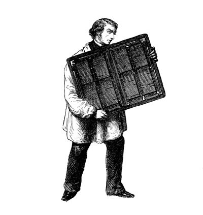 A compositor carrying a heavy 'forme'